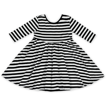 Girl Black And White Stripe Backless Dress Toddler Cotton Dress