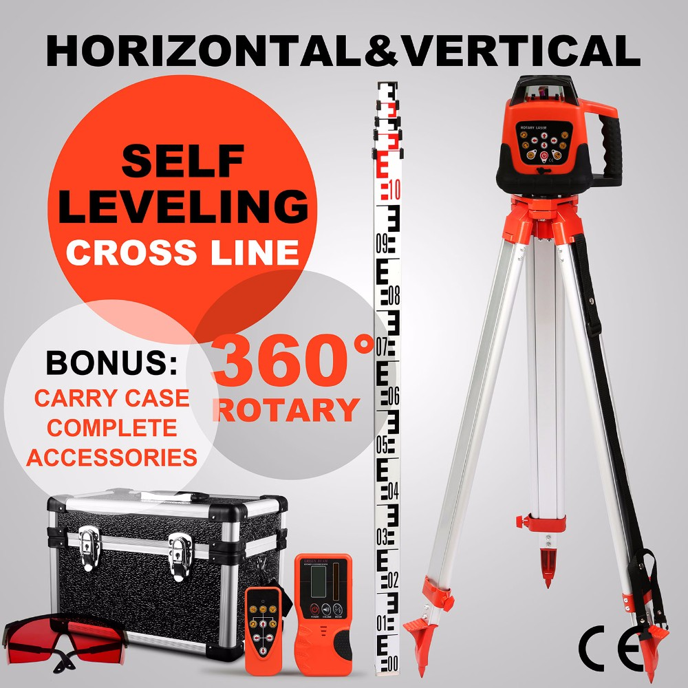 VEVOR Automatic 500m Range Self-leveling Rotary Red Laser <strong>Level</strong> with Tripod and 5m Staff