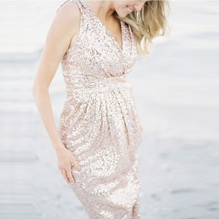 02daa33c5ad33 Glitter Pregnant Woman Gowns Sleeveless Beach Maternity Dresses Long Prom  Gown Rose Gold Stretchy Sequined Lace Evening Wear
