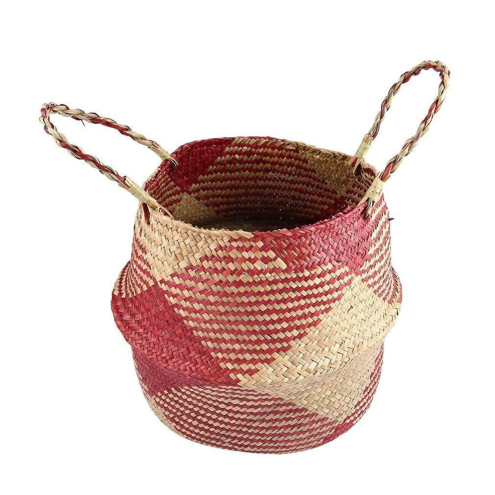YCDC m Lightweight Seagrass Tote Belly Basket, Home Planter, Handmade Hanging Craft, Flowerpot, Garden Pot Lightweight Seagrass Tote Belly Basket Foldable Storage Organizer Home Planter