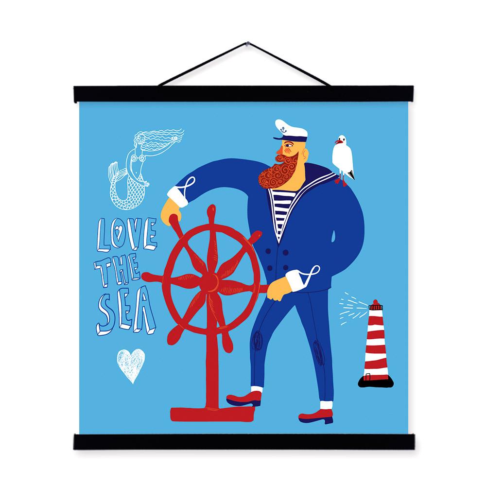 Cartoon sailor fish Portrait <font><b>Hipster</b></font> A4 Wooden Framed Canvas Painting Wall Art Print Picture Poster <font><b>Home</b></font> <font><b>Decor</b></font>