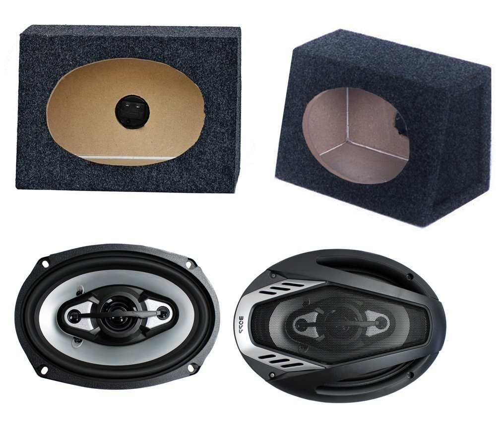 "2) NEW BOSS NX694 6x9"" 800W Car Audio Speakers + 2) 6x9"" Speaker Box Enclosures"