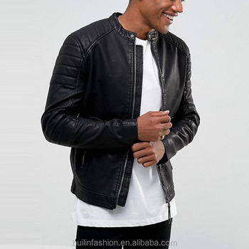 Jacket Factory Guangzhou Quilted Sleeves Black Leather Jacket Buy