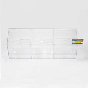 Clear merchandising material acrylic candy cookie display dispenser divided box food storage bin container with Price Tag Slot