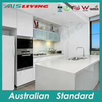 AIS LIVING small kitchen cabinet high gloss lacquer kitchen cupboard with water mark taps
