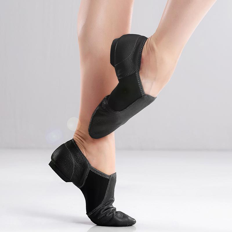 Wholesale Leather Jazz Shoes Black Tan Jazz Dance Shoes
