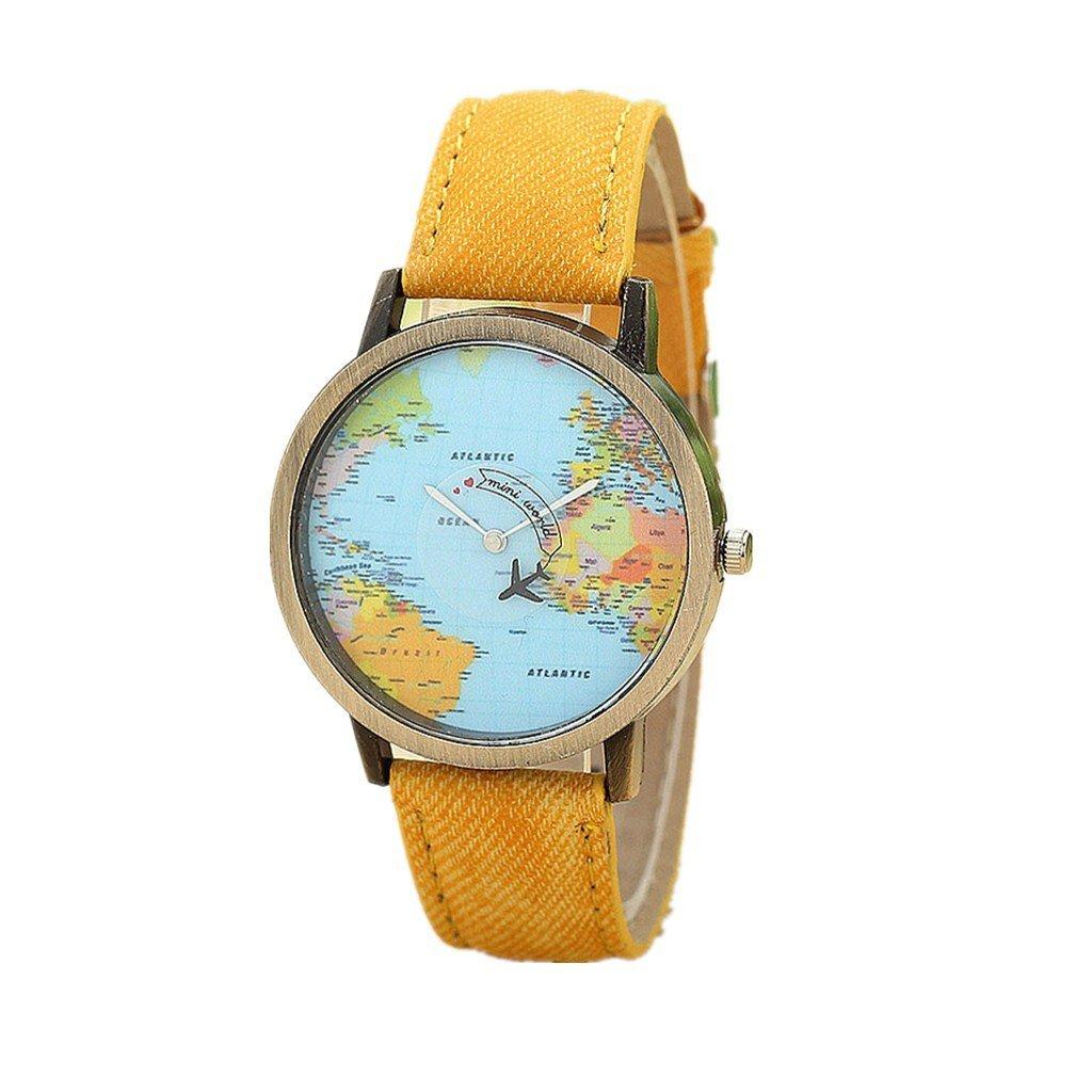 Beautyvan New Fashion Global Travel By Plane Map Women Dress Watch Denim Fabric Band Watchs (D)