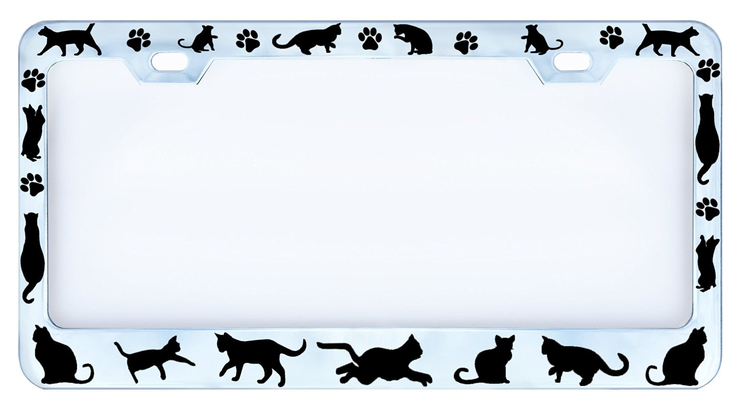 Buy Cats & Paws Cat Figures Paw Chrome Auto Car License Plate Frame ...