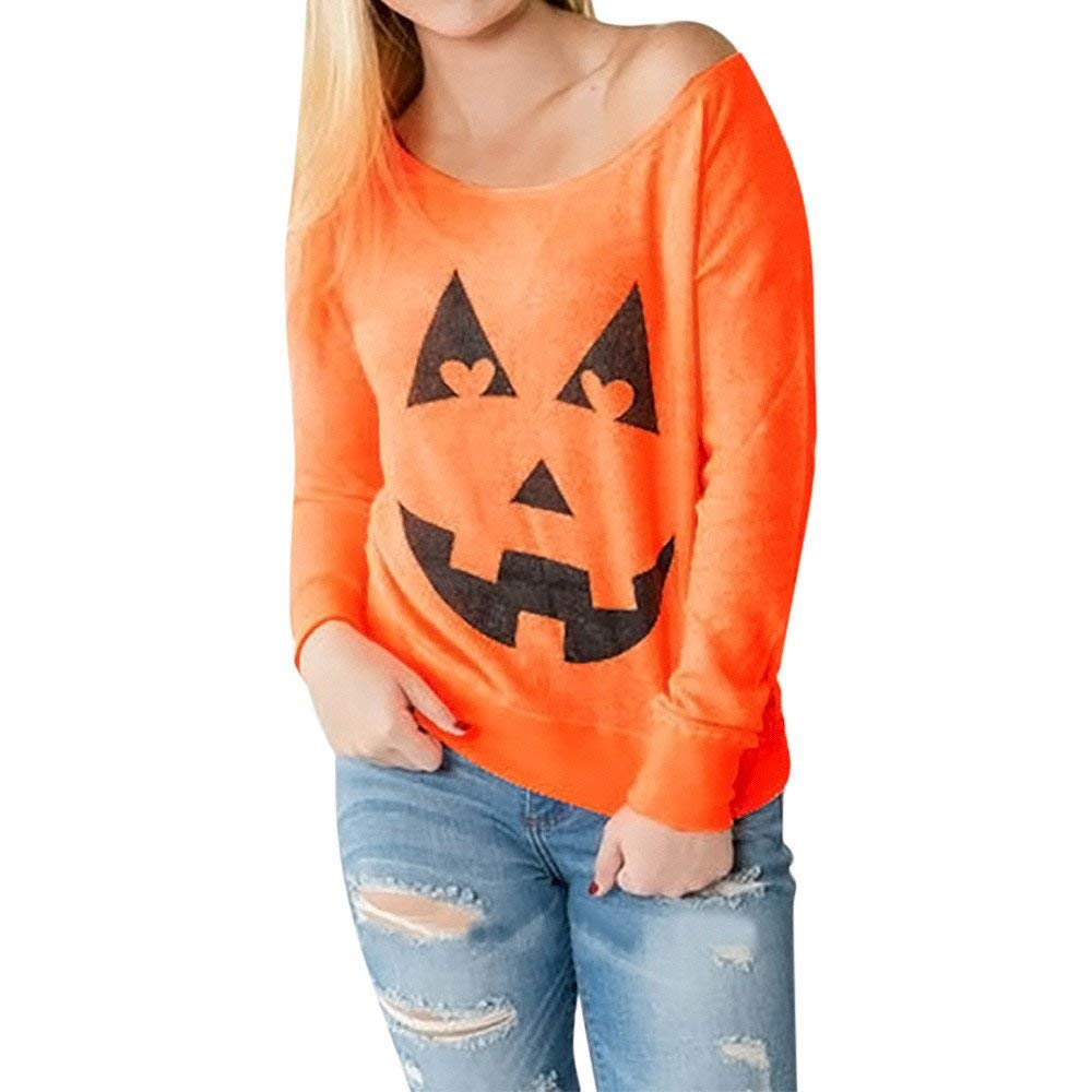 OWMEOT Women Dress, Women Halloween Pumpkin Skull Christmas Print Long Sleeve Party Swing Mini Dress
