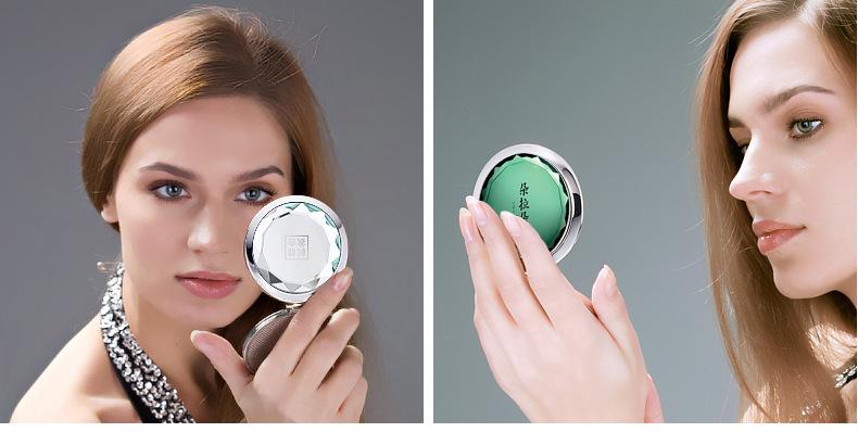 DL-RFS005 Yiwu wholesa Custom Logo Fashion Gold double-sided Round crystal MakeUp Pocket Mirror with Gift Box