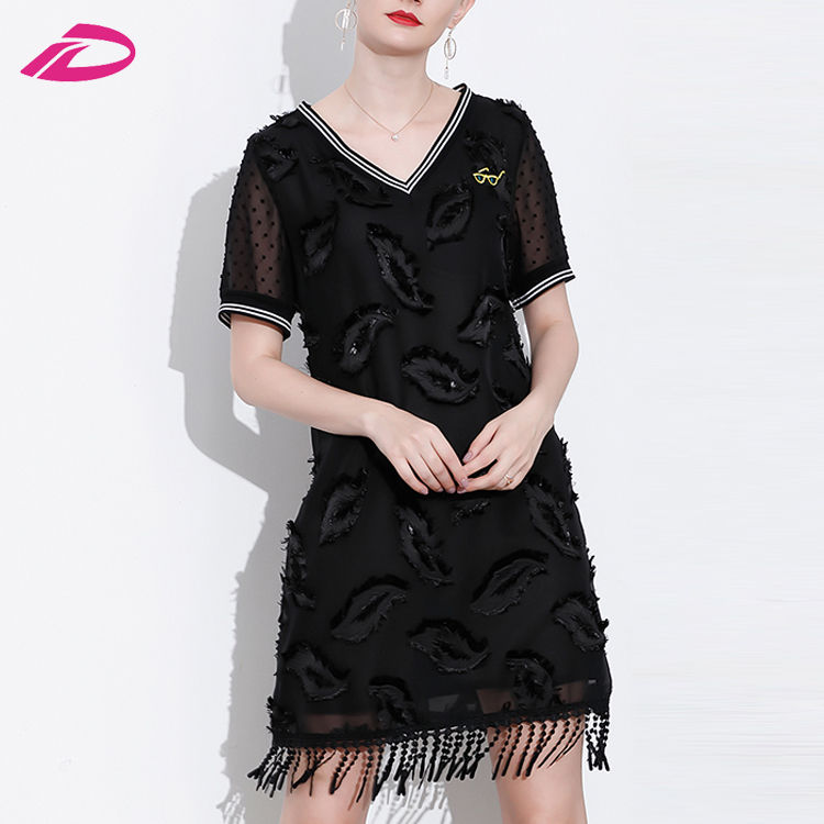 Plus Size Women Mesh Patchwork Embroidery Tassel V-Neck Mini Summer Sundress Lady Casual Dresses
