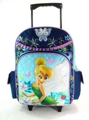 """16"""" Disney Fairies Tinkerbell Large Rolling Backpack-tote-bag-school"""