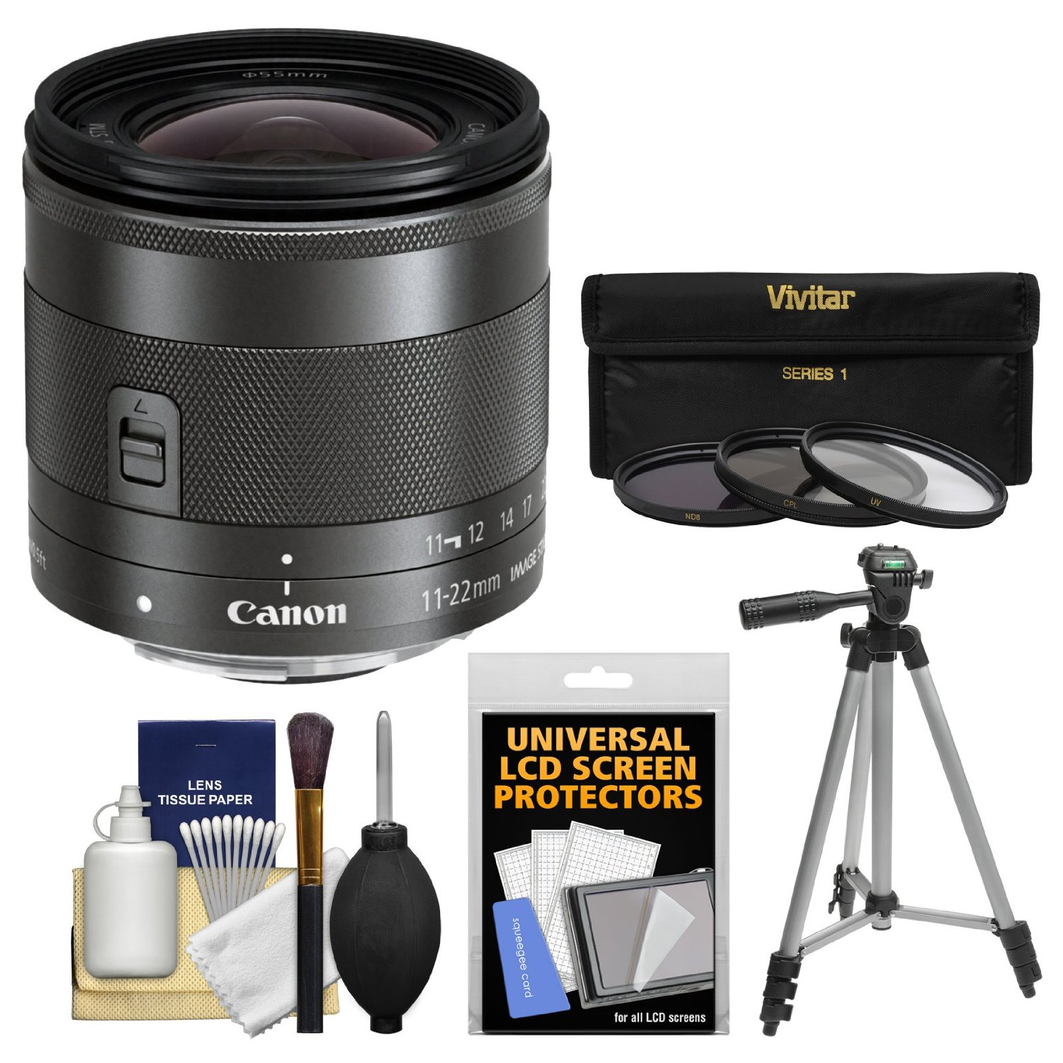 Canon EF-M 11-22mm f/4-5.6 IS STM Lens with Tripod + 3 UV/CPL/ND8 Filters + Kit for EOS M, M2, M3 ILC Digital Camera
