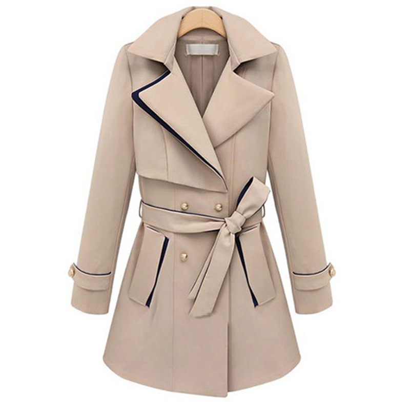 Fashion Mixed Colors Long Trench Coat Turn-down Collar Belted Slim Coats Double Breasted Overcoat Women Elegant Workwear Coats