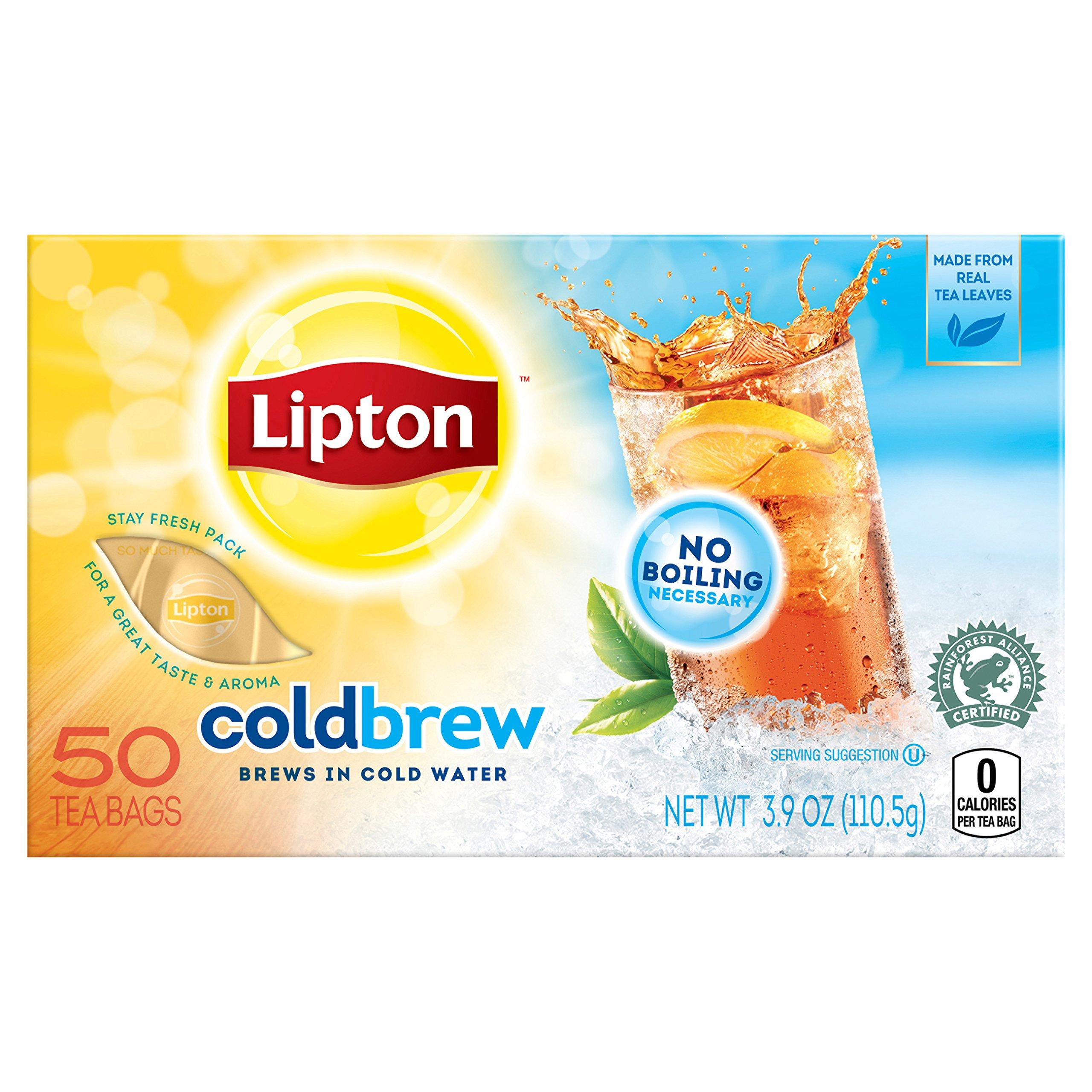 Lipton Black Iced Tea Bags, Cold Brew, Unsweetened 50 ct