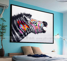 Handmade Animal Wall Art Zebra Framed Oil Painting