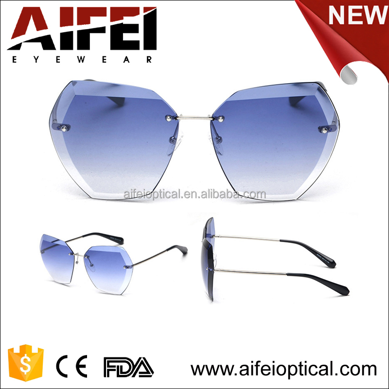 2017 winter fashionable rimless sunglasses with CE UV400