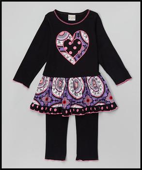 c0bf9ce7168e5b yawoo 2016 billige babykleidung schwarz valentines babykleidung design  stickerei bauchtanz kleidung kinder niedlich Outfits setzt