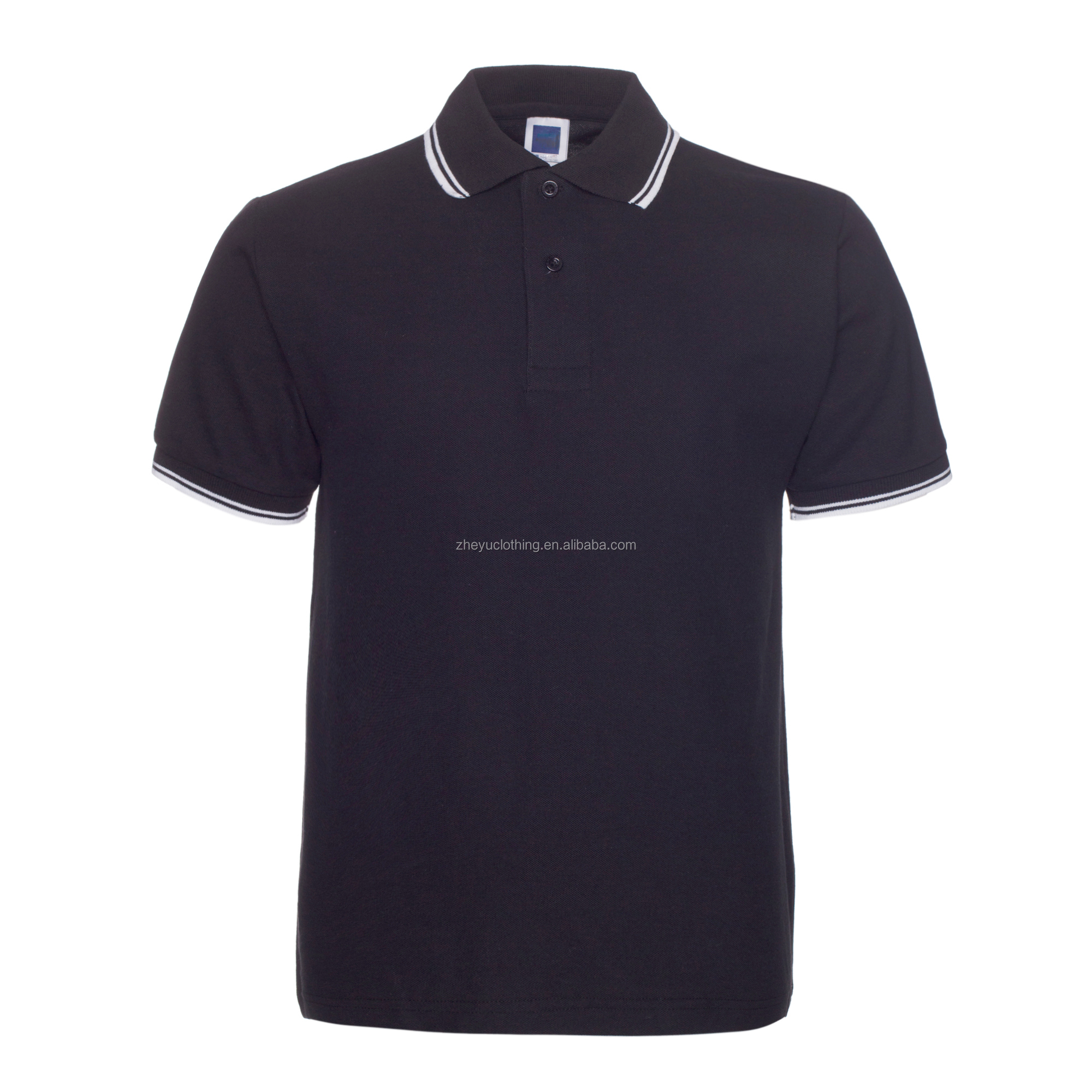 Men's cotton polo t shirt short sleeve black polo shirts with striped collar