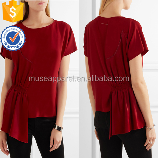 New Fashion Short Sleeve Asymmetric Crepe And Smocked Satin Women Blouse OEM/ODM Women Apparel Clothing Garment Wholesaler