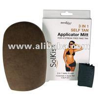 self tan spray tan mitt 3-1 exfoliate, tan, buff,, washable