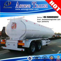 Aotong brand 2 axles 42000 Liters water transporting fuel tanker semi-trailer used crude oil tan trailer for sale