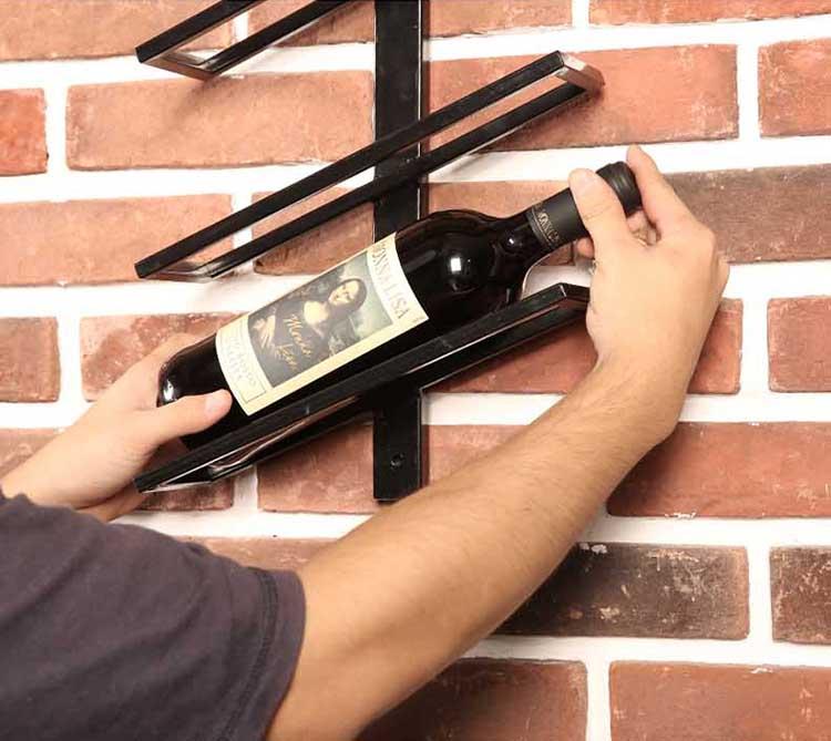 Semplice E Moderno all'ingrosso di Disegno 2-12 Bottiglie In Metallo Da Parete Montato Vino Titolari di Visualizzazione