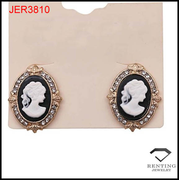 fashion rhinestone cameo beauty women stick earring