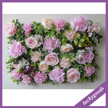 LFB699 2017 China Shupplier Artificial Light Purple Flower Wall With Green  Leaves