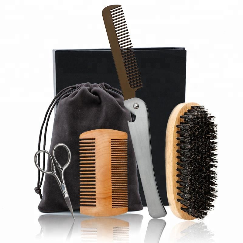 Metal Mustache Grooming Scissors Folding Custom Beard Comb Wood Beard Care Kit With Bag
