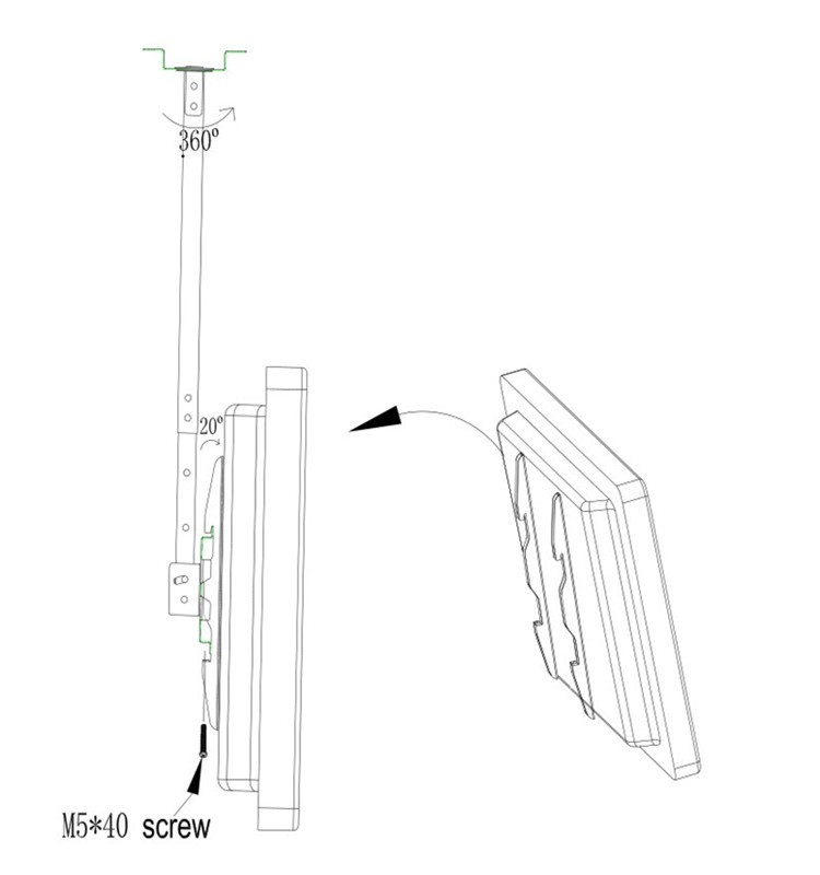 Chinese Factory Retractable Lcd Ceiling Tv Mount For 32 60