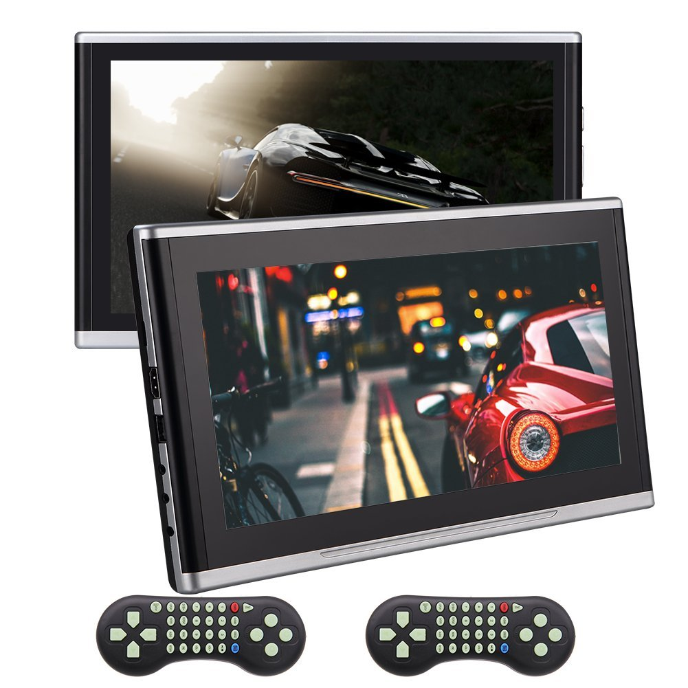 Dual 10.1 Inch EinCar Headrest DVD CD Player HD 1080P LCD Screen Portable Headrest Multimedia Monitor Backseat USB Player with HDMI Port AV Input,Remote and 32 Bit Games