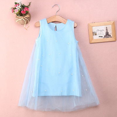 Cute Toddler Baby Flower Girl Princess Party font b Dress b font Bead Tulle Gown font