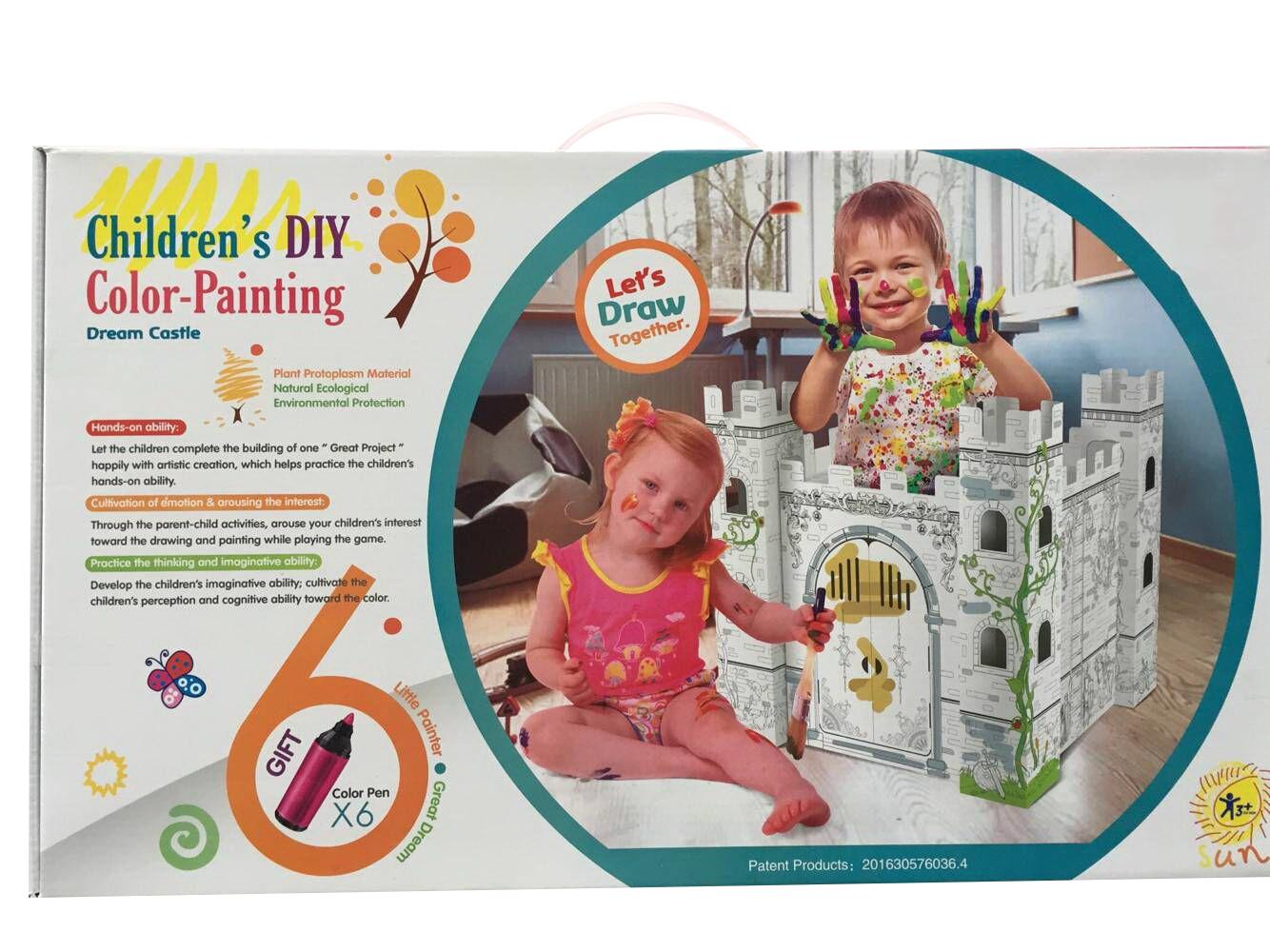 Kids Creation Cardboard Coloring Craft Dream Castle Kit ...