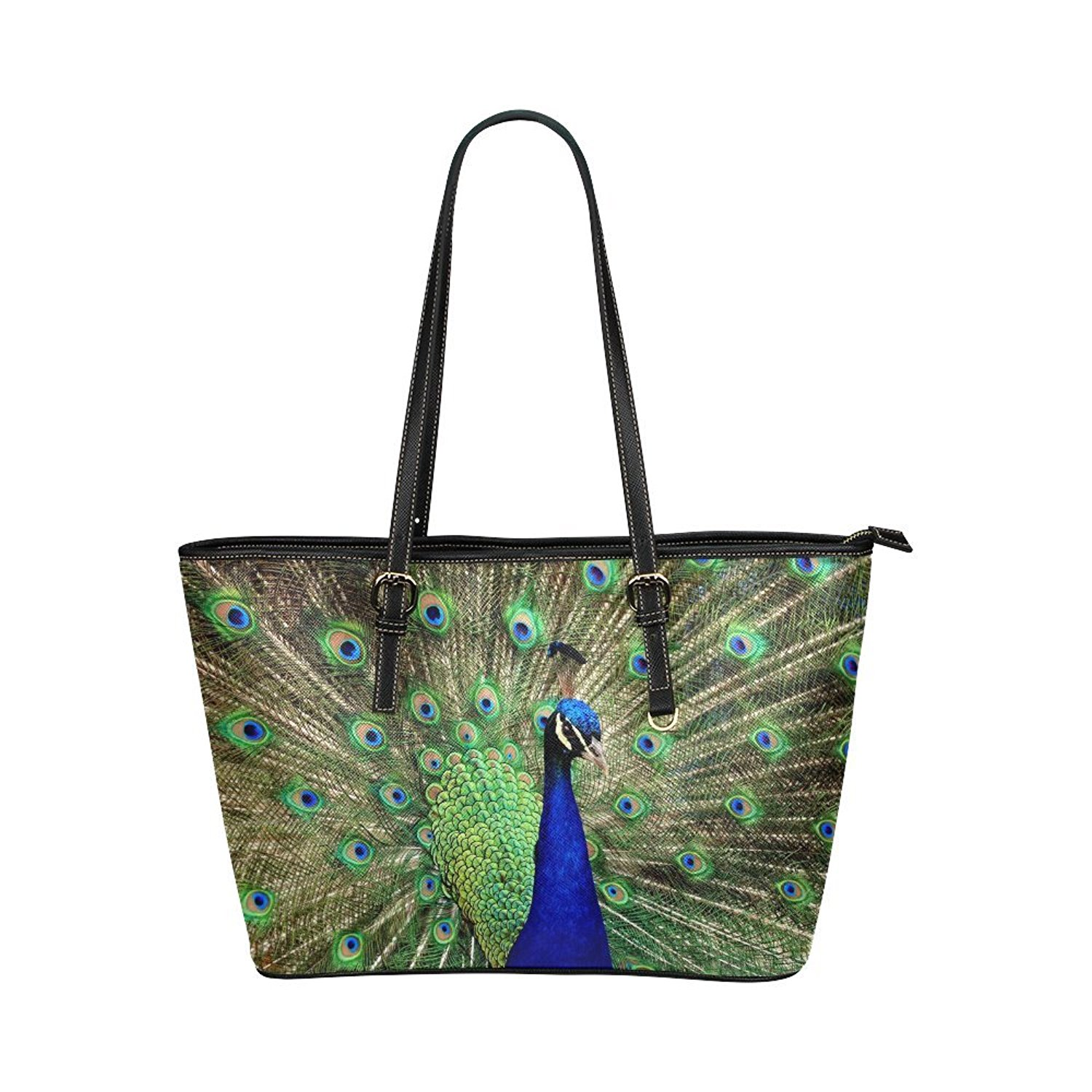 Green Peacock Feathers Large Travel Duffel Bag Waterproof Weekend Bag with Strap