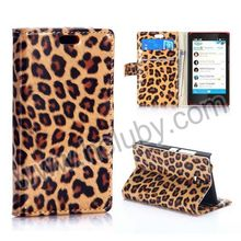 Leopard Pattern Wallet Style Magnetic Stand Flip PU Leather Case Mobile Phone Cover for Nokia X2 1013 Dual SIM