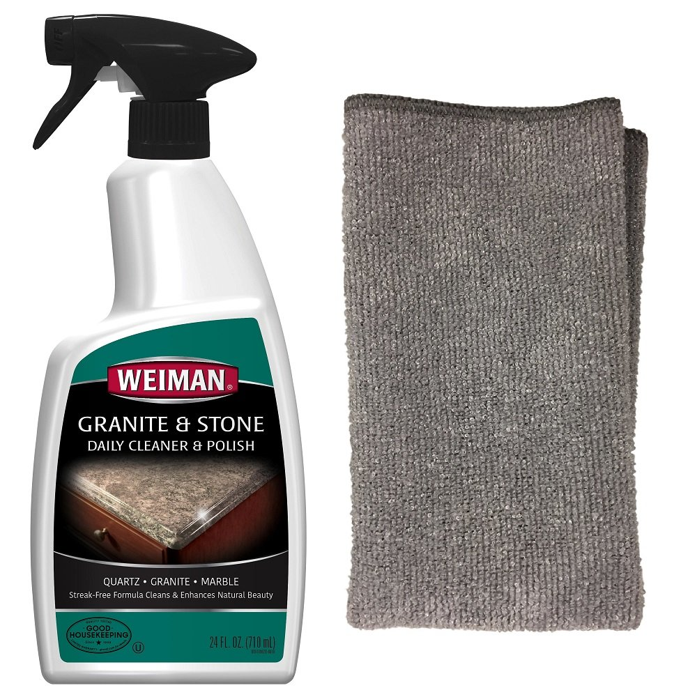 Weiman Granite Cleaner and Polish 24 Fluid Ounce - With Weiman Microfiber Cloth - Enhances Natural Color in Granite, Quartz, Marble, Soap Stone and More