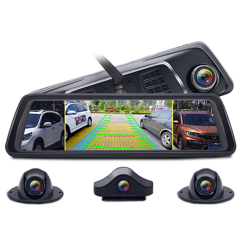 "4 Channel Car DVR Media Rearview Mirror 10"" 4G Android 8 Core MTK6753 ADAS Full HD 1080P Video Recorder Camera"