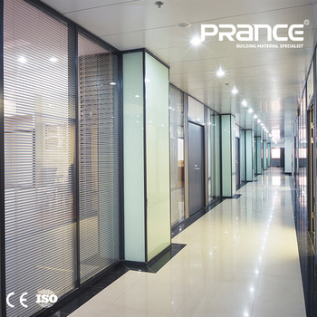 Double Glass Louver Frosted Glass Office Partitions