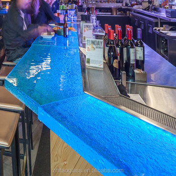 Colors artificial glass led bar counter table design