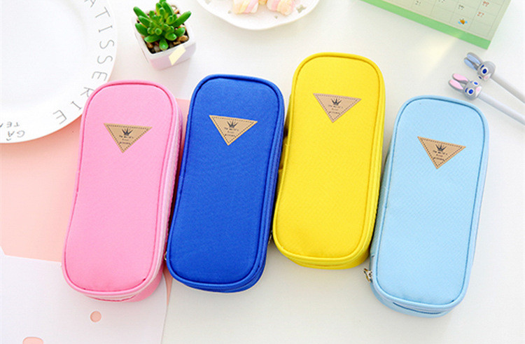 yellow pencil case large capacity oxford double layer student pencil case pen box school stationery