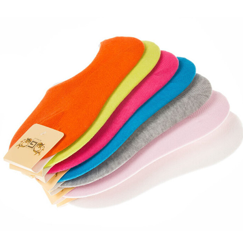 2015 New Summer Candy Color Lnvisible Women Socks Shallow Mouth Cotton Sports Socks Female Ankle Socks High Quality 5pairs