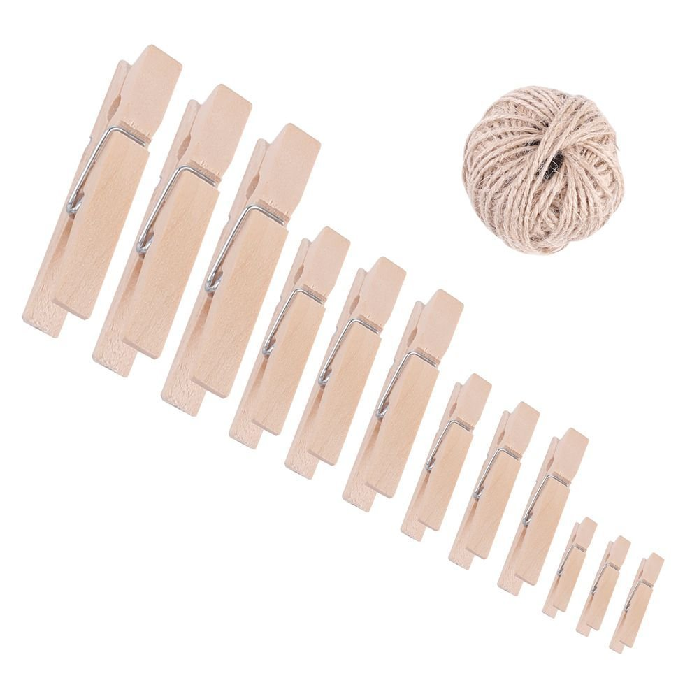 Supla 200pcs 4 Size Wood clothespins Natural wooden clips,unfinished wood clips,Vintage cloth clip,Natural Wood Clothespins 1 inch,1.2 inch, 1.4 inch, 1.9 inch and 300 Feet Natural twine grip tightly