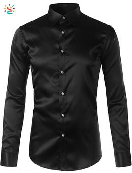 Black silk shirt men silk dress shirt long sleeve shiny for Black silk button down shirt
