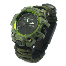 Cmart Camping Militaire waterbestendig waterdichte <span class=keywords><strong>Paracord</strong></span> Survival <span class=keywords><strong>Horloge</strong></span> met Fire starter/kompas/thermometer/fluitje