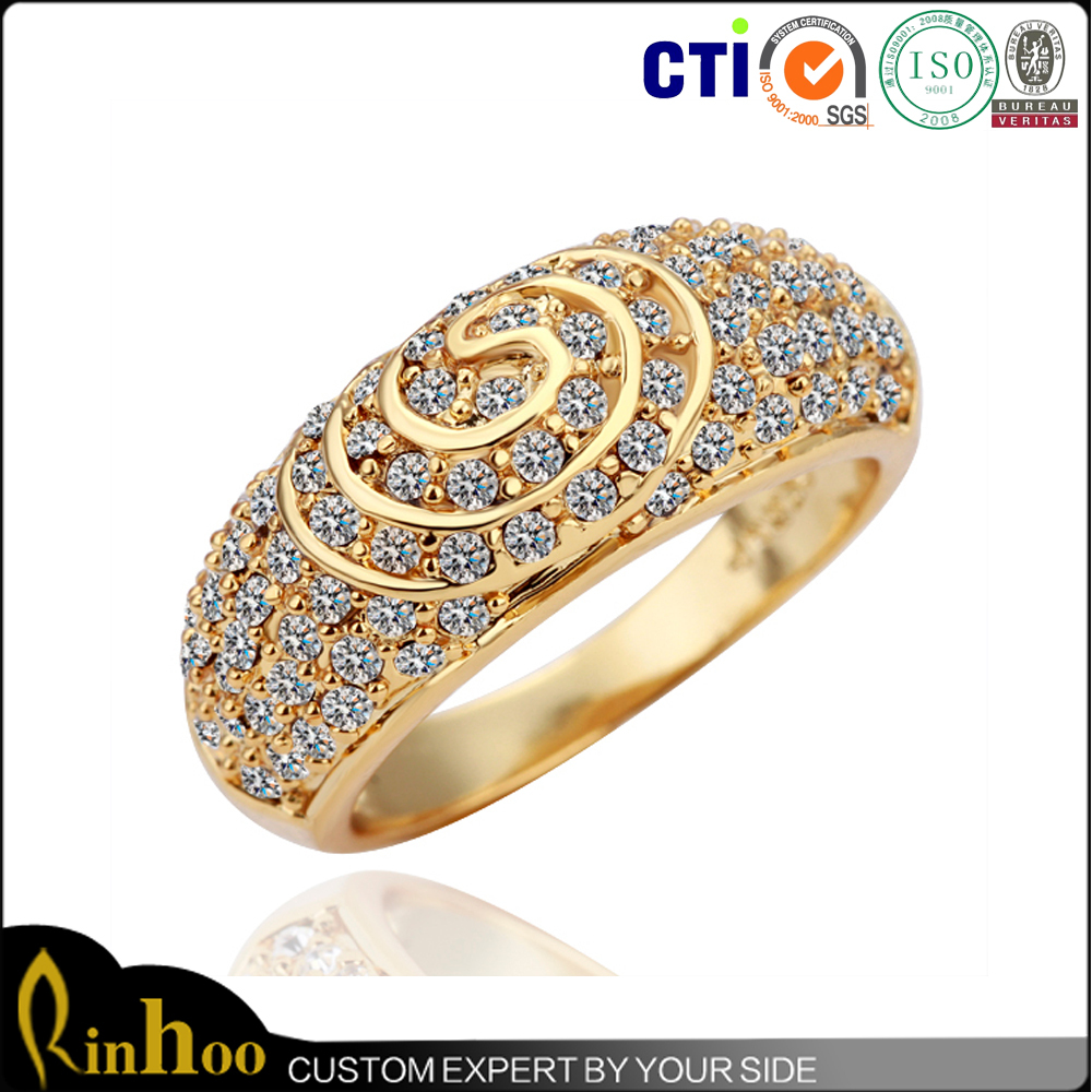 18k Gold Plated Gold Ring Designs For Boys,Spiral Rhinestone Gold ...