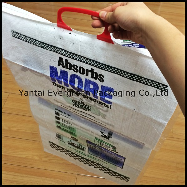 Laminated PP woven bag, BOPP coated woven pp bag with rigid handle.