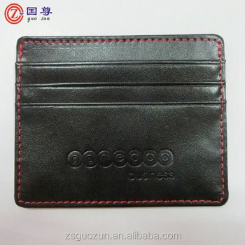 Slim black real leather credit card / holder mini thin wallet ID case