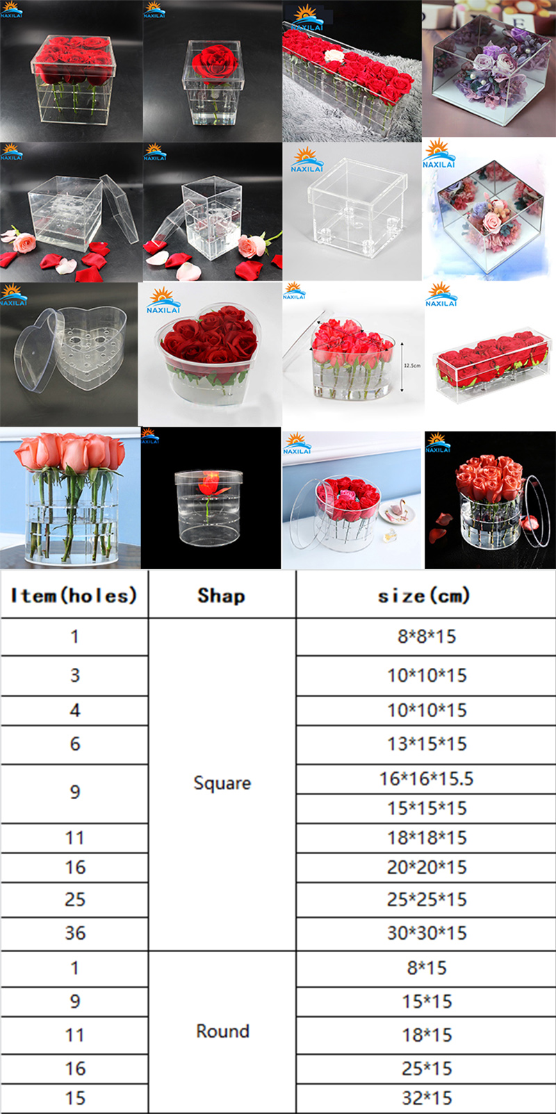 acrylic flower box size