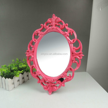 Ornate Decoration Oval Bathroom Mirror Frame In Rose Red